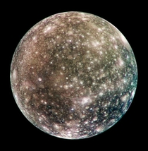Callisto the third-largest moon in the solar system is tidally locked in its revolution around Jupiter so that Jupiter remains stationary in Callistos sky Photo taken in  as the Galileo space probe flew by