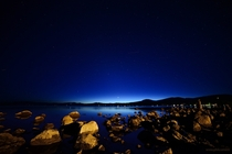 Calm clear night with Venus shining bright over north Lake Tahoe Plus cool rocks