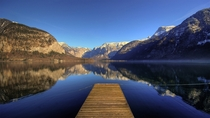Calm waters at Hallstatt lake Austria