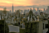 Calvary Cemetery Queens with Midtown Manhattan looming in the background