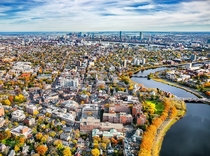 Cambridge and Boston Massachusetts in autumn