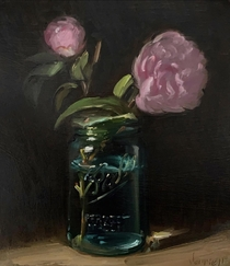 Camellias in a Vintage Ball Jar - My oil painting