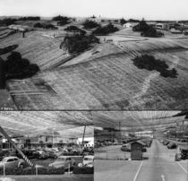 Camouflage over the Lockheed Aircraft plant in Burbank CA during World War II making it appear that this was a sparsely populated rural area