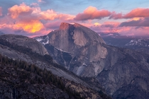 Camped at Yosemite Point and was blessed with this gorgeous sunset over Half Dome Yosemite National Park