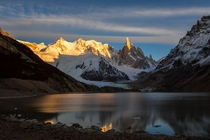 Camped in sub-freezing temperatures right outside of El Chalten to snap this sunrise pic of Fitz Roy Patagonia  x