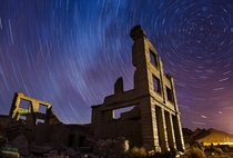 Camped out at a Ghost Town on the CA-NV border and grabbed some nice star trails against the ruins of an old building