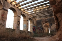 Camped out near Barcelona inside this abandoned fortified farmhouse from year