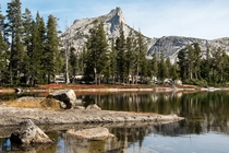 Camping in Solitude at Cathedral Peak California USA