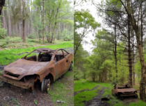 Can someone speculate what has happened to this car It was found in the middle of the woods there is nothing but woodland for miles around it