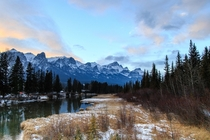 Canadian Rockies at sunset on the Bow River