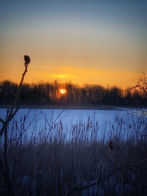 Canadian winter sunset by the Rideau river in Ontario  OC