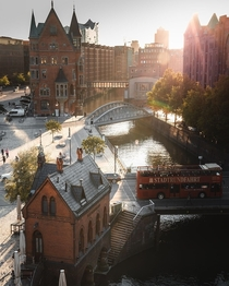 Canal at the Speicherstadt warehouse district Hamburg Germany