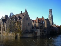 Canal view in Brugge Bruges Belgium