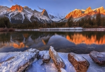 Canmore mountain during sunrise very picturesque in the morning Alberta Canada by Frannz Morzo