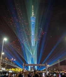 Canton Tower in the city of Guangzhou in China Its  meters tall
