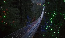 Capilano Suspension Bridge decorated in Christmas lights in North Vancouver British Columbia
