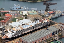 Captain Cook Graving Dock and Hammerhead Crane at Naval shipyards HMAS Kuttabul Garden Island Sydney Australia