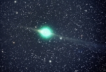 Captured by amateur astronomer Jack Newton we see the brilliant green of Comet Lulin It was discovered on July th  and observable for all of Earths eyes to see from early February to middle March  The jade-like hue was caused by its gases illuminated by s
