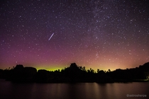Captured shooting star over Sylvan Lake in South Dakota