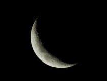 Captured the crescent Moon in my backyard with only a cheap digital camera and im dazzled