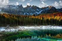 Carezza Lake in the Italian Dolomites  photo by Marco Carmassi