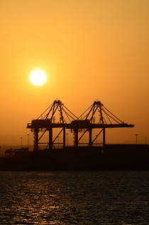 Cargo cranes in the Port of Djibouti Africa