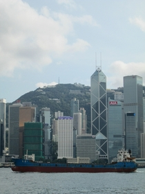 Cargo ship in Victoria Harbour Hong Kong