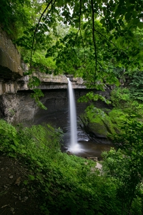 Carpenter Falls plunging over Tully Limestone a rock formation responsible for some of the most stunning waterfalls in New York - Moravia NY OC