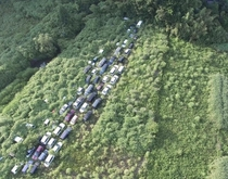 Cars in the Fukushima Exclusion zone after the Nuclear accident