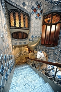 Casa batll staircase by Antoni Gaud Barcelona Spain