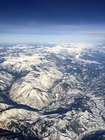 Cascade mountain range from the air