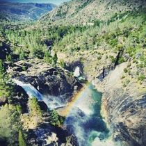 Cascading waterfalls Hetch Hetchy valley Yosemite