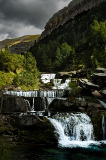 Cascading waterfalls in the Spanish Pyrenees