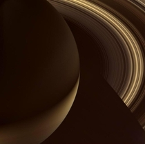 Cassini Spacecraft captured this view of Saturns north side The southern hemisphere is lit by sunlight reflecting off the rings