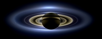 Cassini spacecraft slipped into Saturns shadow and turned to image the planet seven of its moons its inner rings -- and in the background our home planet Earth