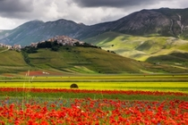 Castelluccio a village in Umbria in the Apennine Mountains of central Italy