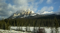 Castle Mountain and Helena Peak Alberta Cool shot my brother took with his Droid traveling west on AB- on the way to Panorama