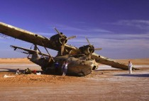 Catalina seaplane attacked and abandoned on a Saudi beach in