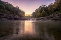 Cataract Falls in Indiana showing the first signs of autumn