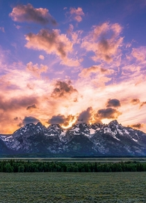 Catching a sunset at the Tetons from last Spring