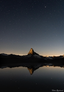 Catching Matterhorn before the moon rises in Switzerland  x by bahar_rou