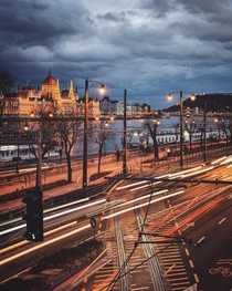 Catching the light trails with the Danube river and the Hungarian Parliament building in the background Insta peterseljan