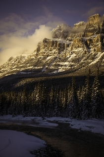 Catching the sunset at Castle Mountain near Banff in Canada