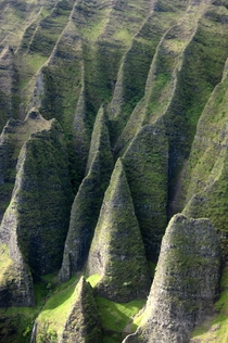 Cathedral Cliffs on the coast of N Pali Hawaii Photo by Wally Gobetz