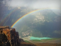 Caught one of the best rainbows of my life today above Lake Louise on top of Mt Fairview