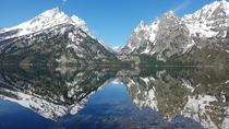 Caught this Cascade Canyon kaleidoscopic reflection in Jenny Lake Grand Teton National Park Wyoming