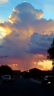 Caught this cloudburst as I walked out my front door a couple years ago in Phoenix just before sunset