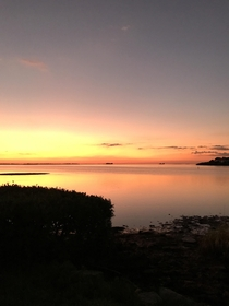 caught this picture as the Sun dropped into the Gulf of Mexico from the banks of the St Joesph Sound in Ozona Florida