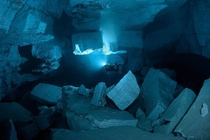 Cave diving Orda cave Perm
