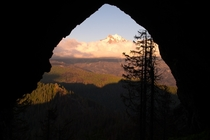 Cave framing Mount Jefferson Oregon --